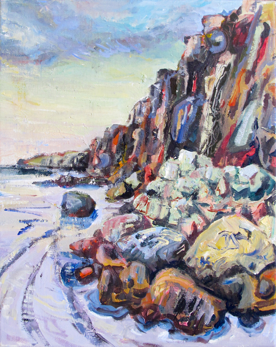 Chapel Porth Rocks - Tony Minnion Acrylic on Canvas - 41 x 51cm