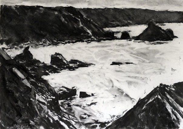 'Porthcadjack Cove' Stuart Ross charcoal, 16.5x23.5in. 2016