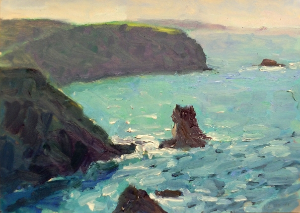 'Portreath Bay Stuart Ross  12.10.15. oil, 12x16.5in. 2015